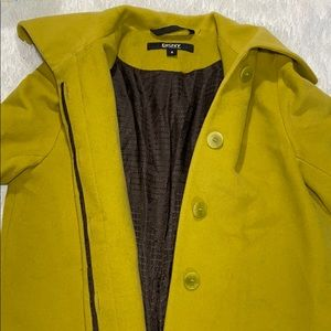 Wool/Cashmere DKNY Chartreuse Coat